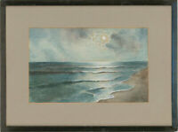 Framed 20th Century Watercolour - Beach Waves