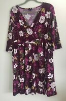 Torrid Purple Floral Cross Front Layered Stretch Dress Size 1X