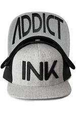 Ink Addict Tattoo Inked Punk Urban Skater Grey Flat Bill Trucker Snapback Hat