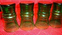 """Vintage Green Glass Flared Set (4) Drinking Juice Glass Tumblers 4"""" Tall     354"""