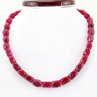 BEAUTIFUL 352.00 CTS EARTH MINED RED RUBY SINGLE STRAND FACETED BEADS NECKLACE