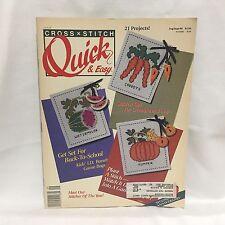 Cross Stitch Quick & Easy Magazine Aug/Sept 1990 Free Ship