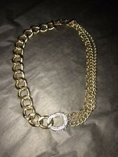 Link Chain Choker Necklace Women Gold Tone Thick Chunky