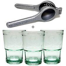 Bacardi Mojito Gläser Presse Set 3 x Glas Tumbler 1 x Limettenpresse aus Metall