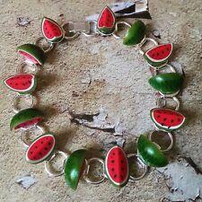 Unique WATERMELON BRACELET handmade FRUIT kitsch CUTE melon ROCKABILLY kitsch