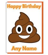 personnalisé Emoji Poop / CACA Carte d'anniversaire - Fille fils garçons ami