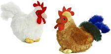"""set 2 Chicken & Rooster 6"""" Aurora Mini Flopsie stuffed animal plush toy bird"""
