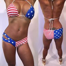 Red White & Blue American Flag Bikini Boy Short Patriotic Bikini Set in size S