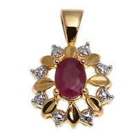 Kettenanhänger echt Silber 925 Sterling vergoldet gold Rubin und Diamant Anhänge
