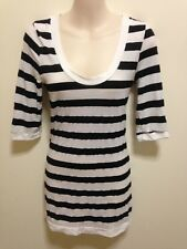 Metalicus Black White Striped Cotton Blend Top One Size - EUC
