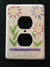 Hand Painted Floral Outlet Cover Pink Purple Flowers Country Look Shabby Chic