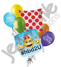 7 pc Emoji #hbd2u Happy Birthday Balloon Bouquet Party Decoration Smiley Wink