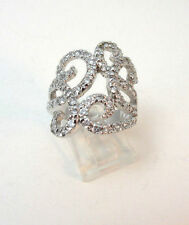 STERLING SILVER RHINESTONE EMBELLISHED SWIRL PATTERN RING SIZE 9.75  **