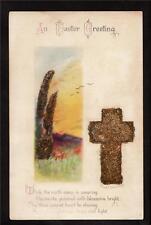 wolf artist signed Clapsaddle glitter cross Easter postcard