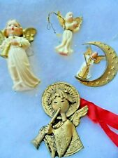 Vintage Christmas Lot - 4 Resin, Hard Plastic Angels - 2 From West Germany