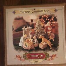 GRANDEUR NOEL 2001 PORCELAIN CHRISTMAS SCENE 9 PIECE SET - FREE SHIPPING