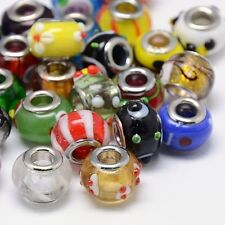 100 Stk. Mischarten Murano Glasperlen Großes Loch Rondell Perlen Gemischte Farbe