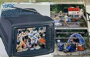 "Rare Yorx portable 5"" color television TV,AM/FM radio with original box Tested!"