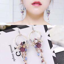 Crystal Fringed Earrings Long Dangle Drop Flower Tassel Ear Stud Rhinestone
