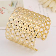 Hollow Out Cuff Bracelet Bangle Adjustable Fashion Women Gold Plated Rings Cross