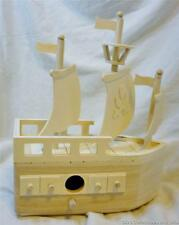 Pirate Ship Style Birdhouse Made of Unfinished Wood Stain or Paint to Suit Needs