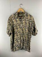 Feldini Mens Brown Blue Geometric Cotton Vintage Button Up Shirt Size Medium
