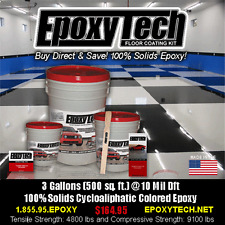 100% SOLIDS EPOXY FLOOR COATING PAINT- 2.5 Car Garage - 500 SF- 3 Gal.