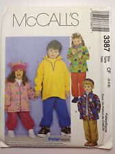 childrens hoodies, pullover top, pull on pants, hat sz 4,5,6  McCall's 3387