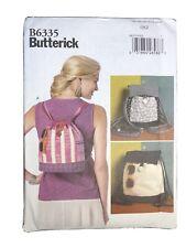 Butterick B6335 6335, Drawstring BEACH Backpacks, Purse, Tote, 3 Styles