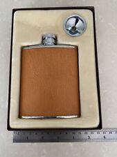 W.A. Goold England Brown Leather Bound Stainless Steel 6oz Hip Flask