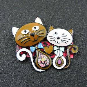 Betsey Johnson Brown Enamel Cute Love Heart Cats Charm Brooch Pin Gift