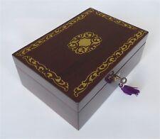 Petite Ottone Antico Palissandro & scatola portagioie intarsiata con Chiave & Tray