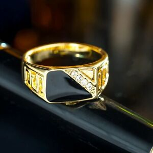 AjoJuel Men's Ring Size 10 Classic Gold Rhinestone Black Enamel Best Selling