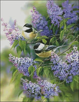 Needlework Crafts Full Embroidery Counted Cross Stitch Kits 14 ct Chickadees