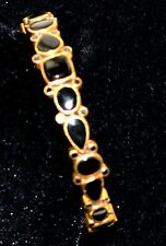 22K Gold plate 925 Sterling SILVER Black ONYX Bangle Bracelet Gem stone vermeil