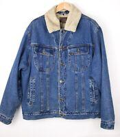 LEE Herren Vintage Jeansstoff Sherpa Jacke Mantel Größe XL AVZ372