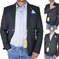 Giacca abito Blazer da uomo elegante estiva slim fit di cotone nera 46 52 54 56
