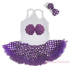Mermaid Princess Sea Shell Halter Neck Bodysuit Girl Purple Dot Baby Dress 0-24M