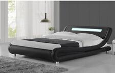 Super Modern Upholstered Low Profile Sleigh Bed w/ Nightlight