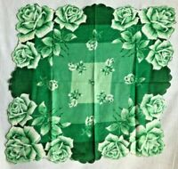 Vintage Floral Handkerchief Green Roses Scalloped Edge 15 in x 15 in