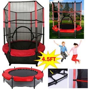4.5FT Kids Trampoline With Safety Net Enclosure Children Outdoor Garden Fun Toy