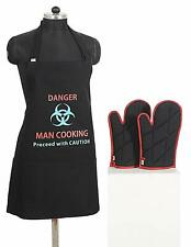 Cotton Kitchen Chef Apron with 3 Pockets & Oven Mitts gloves Set - Black