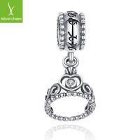 Authentic925 Sterling Silver My Princess CZ Pendant Dangling Charm Bead Bracelet