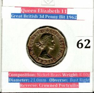 1962 Threepence Brass 3d Coin Queen Elizabeth II (VF Condition)
