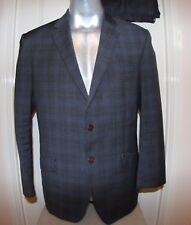 """Paul Smith gris/carreaux bleu veste de tailleur 100% laine, 42"""" tour de poitrine (lisez info!)"""