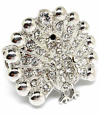 Adorable Peacock Ring / Silver-tone w Clear Crystals on Stretch Linked Band