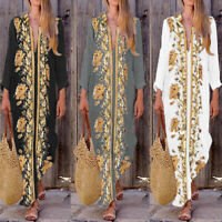 Mode Femme Loose Floral Printed Col V Profond Club Cocktail Robe Jupe Maxi Plus