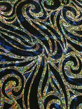 "Blue Gold 60"" Wide Spandex Lycra Rolex 4 Way Stretch Hologram Fabric By Yard"