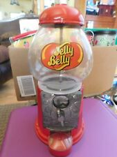 """JELLY BELLY GUMBALL CANDY MACHINE COIN BANK GLASS METAL RED 11"""" TALL Vintage EUC"""