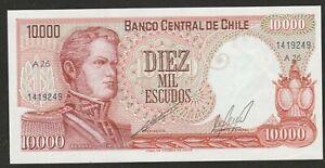 1967/76 CHILE 10,000 ESCUDO NOTE UNC